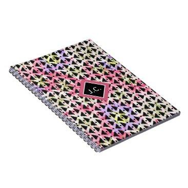 Aztec Themed Monogram open weave stylish pink green mauve black spiral notebook