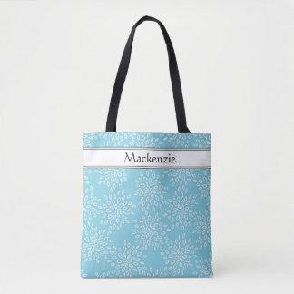 Monogram or Name Blue White Floral Trendy Pattern Tote Bag