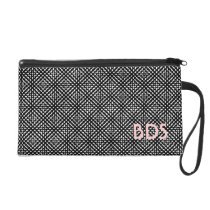 Monogram or name on Black and White pattern Wristlet