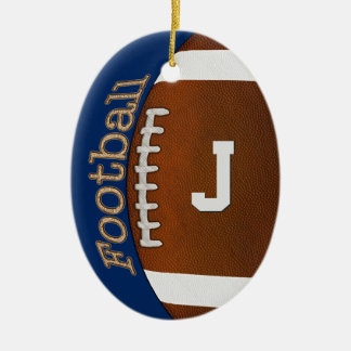 Monogram or Number Football Ornament, Your Colors Ceramic Ornament