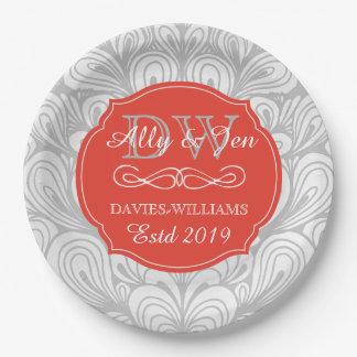 Monogram Orange Abstract Grey Lesbian Gay Wedding Paper Plate