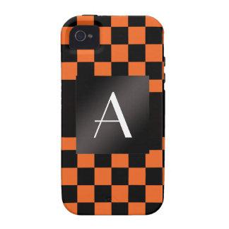 Monogram orange and black checkers vibe iPhone 4 case