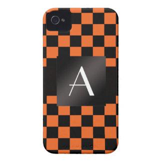 Monogram orange and black checkers iPhone 4 case