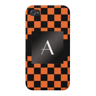 Monogram orange and black checkers case for iPhone 4