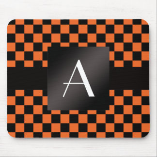 Monogram orange and black checkers mouse pad