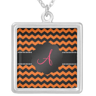 Monogram orange and black chevrons silver plated necklace