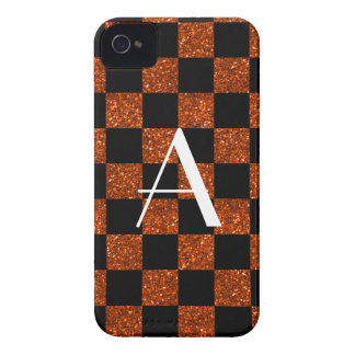 Monogram orange and black glitter checkered blackberry bold cases