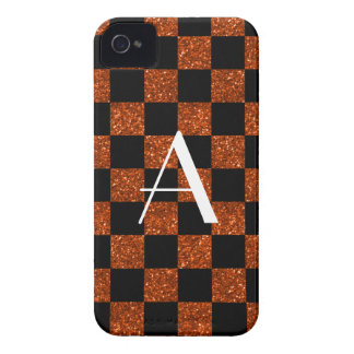 Monogram orange and black glitter checkered iPhone 4 cover
