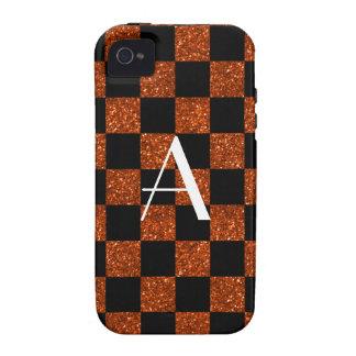 Monogram orange and black glitter checkered Case-Mate iPhone 4 covers