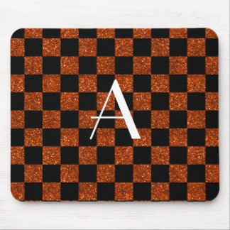 Monogram orange and black glitter checkered mouse pad