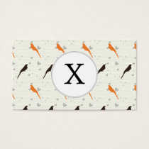Monogram Orange and Brown birds with hearts Business Card