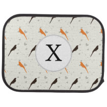 Monogram Orange and Brown birds with hearts Car Mat