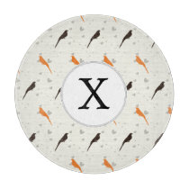 Monogram Orange and Brown birds with hearts Cutting Board