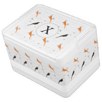 Monogram Orange and Brown birds with hearts Drink Cooler