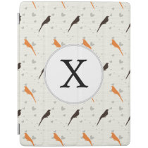 Monogram Orange and Brown birds with hearts iPad Smart Cover