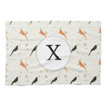 Monogram Orange and Brown birds with hearts Kitchen Towels