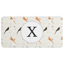 Monogram Orange and Brown birds with hearts License Plate