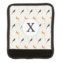 Monogram Orange and Brown birds with hearts Luggage Handle Wrap
