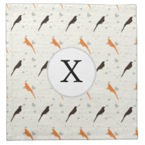 Monogram Orange and Brown birds with hearts Napkin