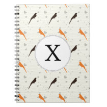 Monogram Orange and Brown birds with hearts Notebook