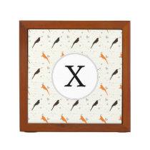 Monogram Orange and Brown birds with hearts Pencil/Pen Holder