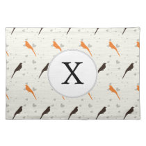 Monogram Orange and Brown birds with hearts Placemat