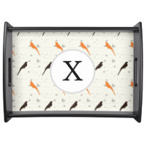 Monogram Orange and Brown birds with hearts Serving Tray