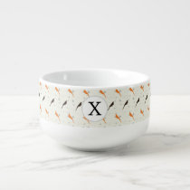 Monogram Orange and Brown birds with hearts Soup Mug