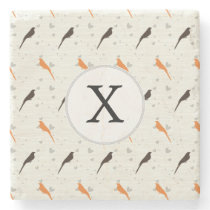 Monogram Orange and Brown birds with hearts Stone Coaster