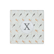 Monogram Orange and Brown birds with hearts Stone Magnet