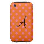 Monogram orange and pink polka dots iPhone 3 tough case