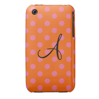 Monogram orange and pink polka dots iPhone 3 Case-Mate cases