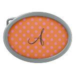 Monogram orange and pink polka dots pattern belt buckle