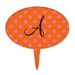 Monogram orange and pink polka dots pattern cake picks