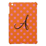 Monogram orange and pink polka dots pattern iPad mini case