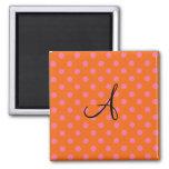 Monogram orange and pink polka dots pattern fridge magnet