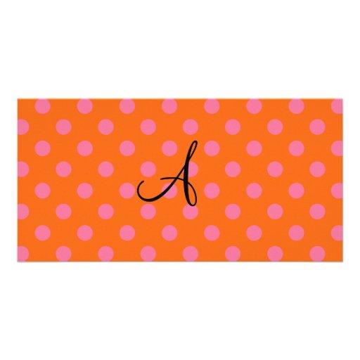 Monogram orange and pink polka dots pattern picture card