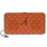 Monogram orange and pink polka dots pattern laptop speaker