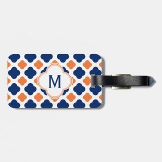 Monogram Orange and Royal Blue Quatrefoil Tags For Luggage