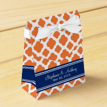 Monogram Orange and Royal Blue Quatrefoil Wedding Favor Box