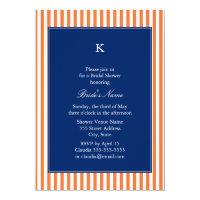 Monogram Orange and White Stripes with Royal Blue Card