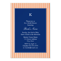 Monogram Orange and White Stripes with Royal Blue Card