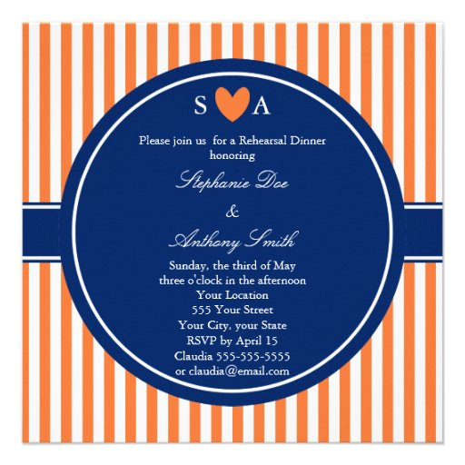 Monogram Orange and White Stripes with Royal Blue Custom Announcement