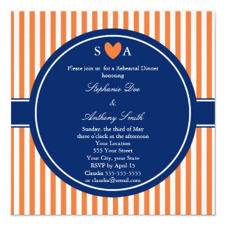 Monogram Orange and White Stripes with Royal Blue 5.25x5.25 Square Paper Invitation Card