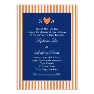Monogram Orange and White Stripes with Royal Blue 5x7 Paper Invitation Card