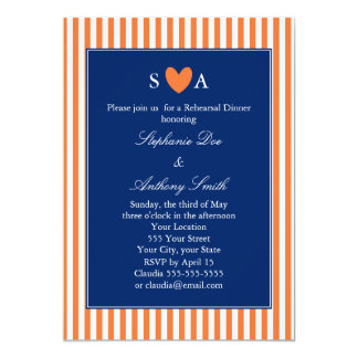 Monogram Orange and White Stripes with Royal Blue 5x7 Paper Invitation Card