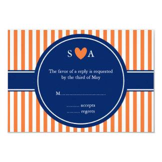 Monogram Orange and White Stripes with Royal Blue 3.5x5 Paper Invitation Card