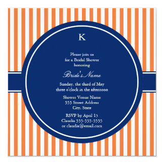 Monogram Orange and White Stripes with Royal Blue 5.25x5.25 Square Paper Invitation Card