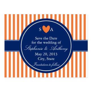 Monogram Orange and White Stripes with Royal Blue Postcard