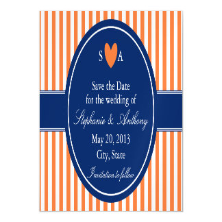 Monogram Orange and White Stripes with Royal Blue Magnetic Invitations